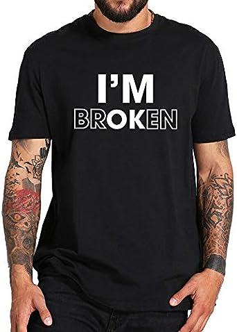 ADS11 Camiseta con Estampado de Letras I Am Ok para Hombre, Camiseta De Diseño Original De Niño, Rota, Negra, Blanca, Cuello Redondo, Ropa De Algodón Casual Divertida T Camisa Negro Negro (3XL: