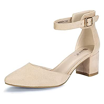 IDIFU Women's IN2 Pedazo-C Mid Chunky Heels Closed Pointed Toe Ankle Strap D'Orsay Pumps Low Block Heel Comfortable Dress Sandals Shoes Beige Size: 5