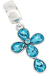 Facet Stone Cross Pendant Scarf Jewelry Blue