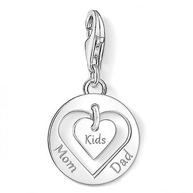 87b06d82f8cc4 Thomas Sabo Heart Mom, Dad, Kids Charm Pendant: Amazon.co.uk: Jewellery