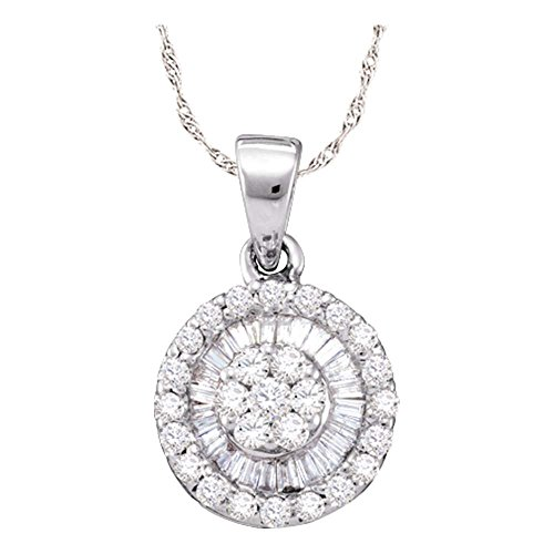 Roy Rose Jewelry 14k White Gold Womens Round Diamond Flower Cluster Circle Pendant 5/8-Carat tw ()