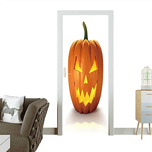 Homesonne 3D Door Decals Scary Jack O Lantern Halloween Pumpkin with Candle Light Inside,d Render Self Adhesive Door Decal W32 x H80 INCH ()