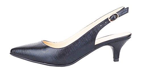 queenfoot Women's Low Heel Pointed Toe Slingback Buckle Strap Comfort Dress Pumps Shoe