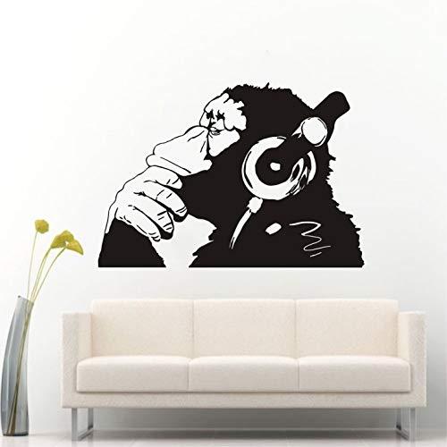 Monkey Mural - Banksy Vinyl Wall Decal Street Graffiti Monkey Wear Headphone Wall Art Sticker Bansky Chimp Listening to Music Earphone Graffiti Sticker Mural W-23 (Black, 57x83cm)