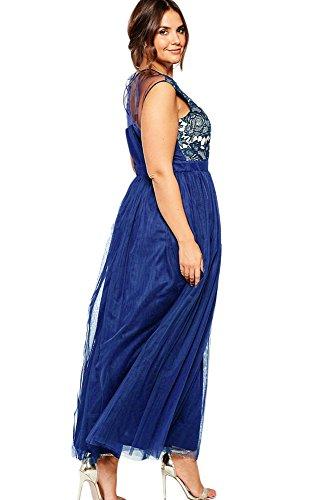 Neue Damen Plus Größe Blau amp; Weiß Floral amp; Mesh Kleid Casual ...
