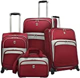 Travelers Choice Luggage Beverly Hills Country Club 4-Piece Expandable Spinner Luggage Set, Red, Large, Bags Central