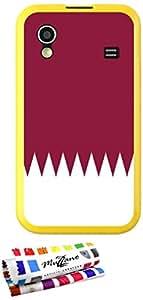 Carcasa Flexible Ultra-Slim SAMSUNG GALAXY ACE de exclusivo motivo [Bandera Katar] [Amarillo] de MUZZANO  + ESTILETE y PAÑO MUZZANO REGALADOS - La Protección Antigolpes ULTIMA, ELEGANTE Y DURADERA para su SAMSUNG GALAXY ACE