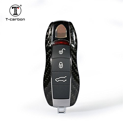 Carbon Fiber Key Fob Cover For Porsche Key Fob Remote Key, Fit Porsche 718 911 918 Panamera Macan Cayenne Boxster Cayman Car Key, Light Weight Glossy Finish Key Fob Replacement Protection Case - Black