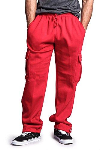 G-Style USA Men's Solid Fleece Cargo Pants DFP2 - RED - (Capri Cargo Sweatpants)