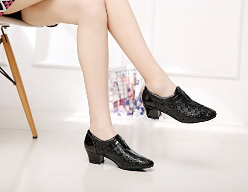 M Slip Style Dance On QJ6204 Patent UK Shoes 2 Black MINITOO Leather Sequin Women's RSqw7xRWUA