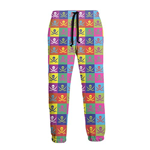 Tessipolo Multicolor Flags Jolly Roger Mens Casual Jogger Pants Sport Active Trousers Baggy Sweatpants XL White