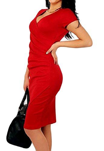 Coolred-femmes V-cou Ruché Taille Plus Carrière De Couleur Pure Robe De Soirée De Fête Modèle1