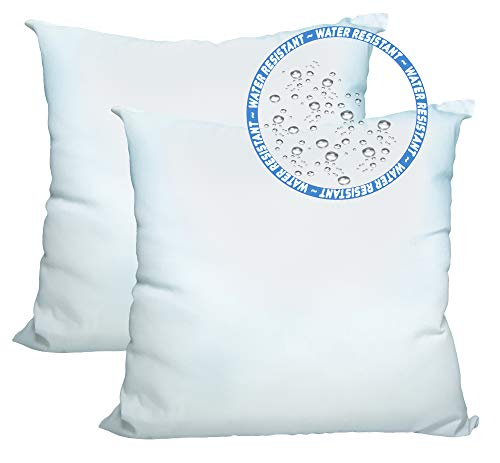 Foamily Set of 2-26 x 26 Premium Outdoor Water and Mold Resistant Hypoallergenic Stuffer Pillow Throw Inserts Sham Square Form, Standard/White - Made in USA