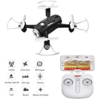 Skytoy Rc Quadcopter Drone with 720P HD Camera 2.4Ghz FPV APP Control Drone Altitude Hold Quadcopter Black