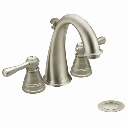 Moen T6123BN Kingsley Two-Handle High Arc Bathroom Faucet, Brushed Nickel (Not CA / VT Compliant) (Valve Not (Moen Kingsley Widespread Faucet)