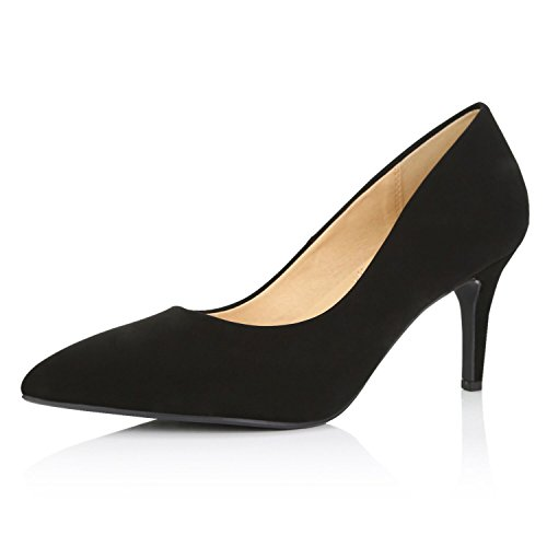 (DailyShoes Women's Cushioned Pump Mid Heels Low Kitten Closed Pointed Toe High Heel Thin Wedding Bridal Shoes Evening Party Stiletto Pumps Crystal-02 Black Nubuck Pu 8.5)