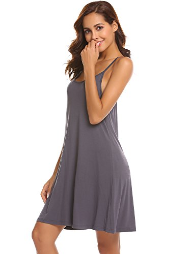 - Ekouaer Women Nightgowns Spaghetti Strap Solid Nighties Sleeveless Full Slip Dress,Deep Gray,Small
