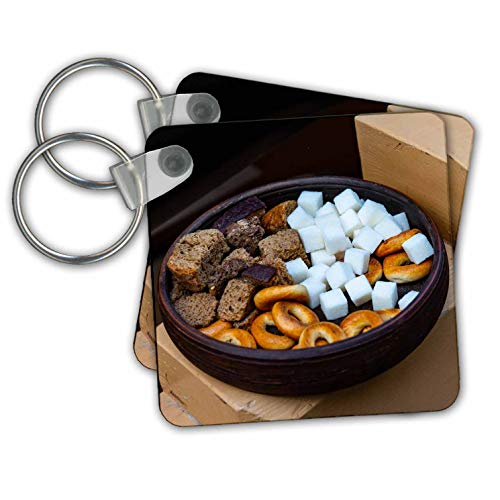 Earthenware Square Plates - Alexis Photography - Food - An earthenware bowl filled with sugar, dried bread and cracknels - Key Chains - set of 2 Key Chains (kc_307628_1)