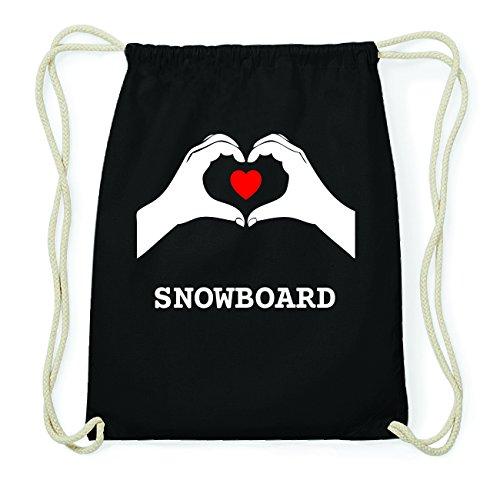 JOllify SNOWBOARD Hipster Turnbeutel Tasche Rucksack aus Baumwolle - Farbe: schwarz Design: Hände Herz