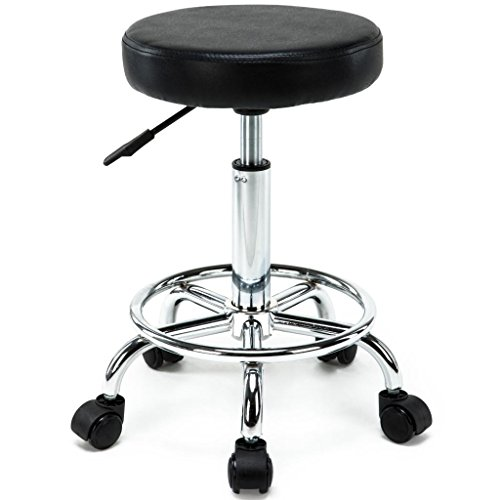 Black Pvc Swivel Seat Stools (Artist Hand Swivel Barber Stools with Wheels Hight Adjustable Message Beauty Salon Rolling Stools Tatoo chair Office Stools with Footrest-Black)