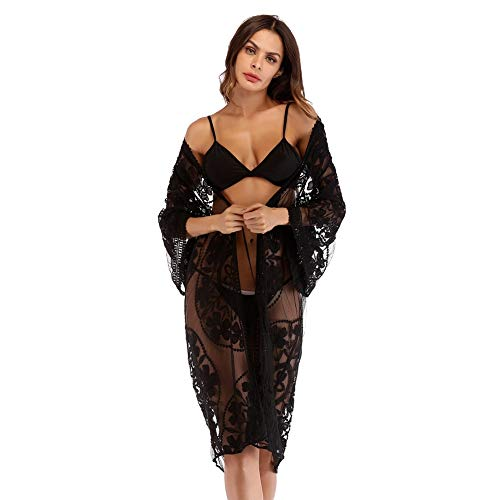 d2028cc336513 Womens Embroidered Lace Long Beach Wear Swimsuit Cover up Bikini Beach  Cardigan