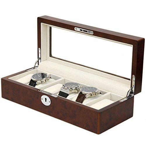 wood-watch-box-storage-case-for-6-watches-burlwood-finish-display-window-silvertone-hardware