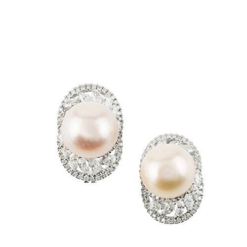 18k White Gold Diamond Freshwater Pearl Hoop Earrings TDW 2.629 cts
