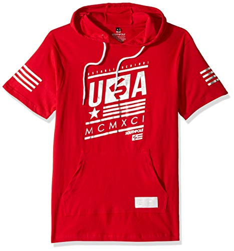 - Southpole Men's Short Sleeve Hooded Fashion Tee, red foil Stripe Hoody, Small
