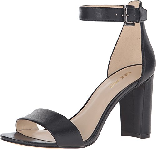 (Nine West Women's Nora Leather Dress Sandal, Black Leather, 7.5 M US)
