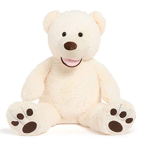 DOLDOA Big Teddy Bear Stuffed Animals with Footprints Plush Toy for Girlfriend 51 inch Off-White