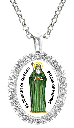 St Bridget of Sweden Patron of Widows Cz Crystal Silver Necklace (Sweden Crystal)