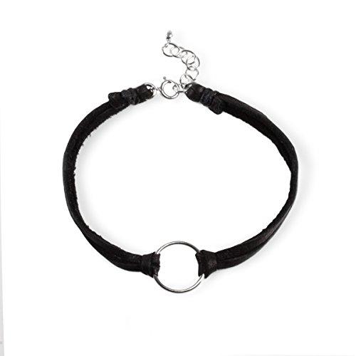 Dogeared Sterling Silver Karma Black Leather Boxed - Leather Bracelet Karma