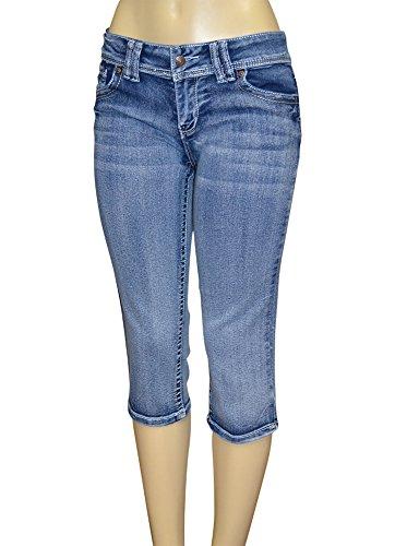 Alfa Global Junior's Low Rise Skinny Denim Capri Pants Blue205 Size 9