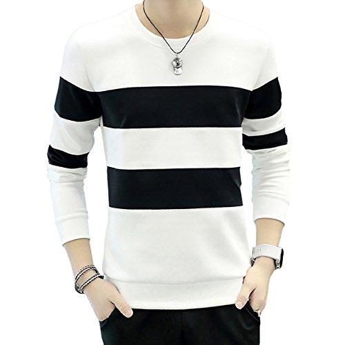 外出証明書環境保護主義者CHROME CRANE(クロム クレイン) メンズ 長袖 シンプル ボーダー プリント Tシャツ デザイン カットソー シャツ LPT009