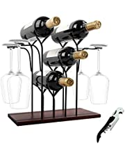 Wine Rack Countertop, Wine Holder and Glass Holder, Hold 4 Wine Bottles and 4 Glasses, Perfect for Home Decor & Kitchen Storage Rack, Bar, Wine Cellar, Cabinet, Pantry, etc, Wood & Metal (Bronze)