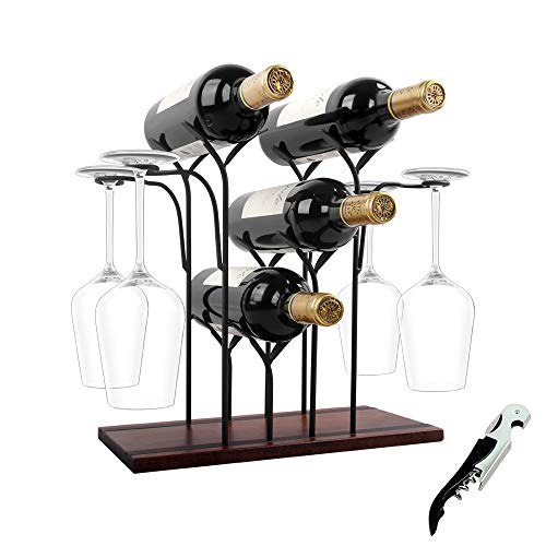 WILLPOWER Wine Rack Countertop, 4 Bottles Wine Holder Storage Stand with 4 Glasses, Rustic Wood Wine Display Shelves for Decor Come with Wine Opener