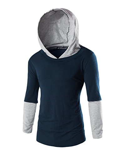Hooded Layered T-shirt Sleeve Long (Allegra K Men Long Sleeve Layered Design Casual Hoodies T-Shirt Navy Blue L)