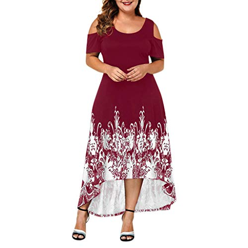 (Tantisy ♣↭♣ Women's Summer Cold Shoulder Floral Print Elegant Maxi Long Dress Flowy Swing Party Dress Plus Size L-5XL)