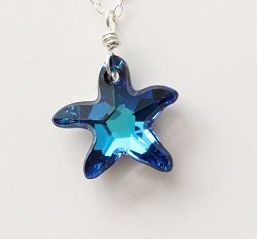 Amazon.com: Swarovski starfish necklace, Bermuda blue