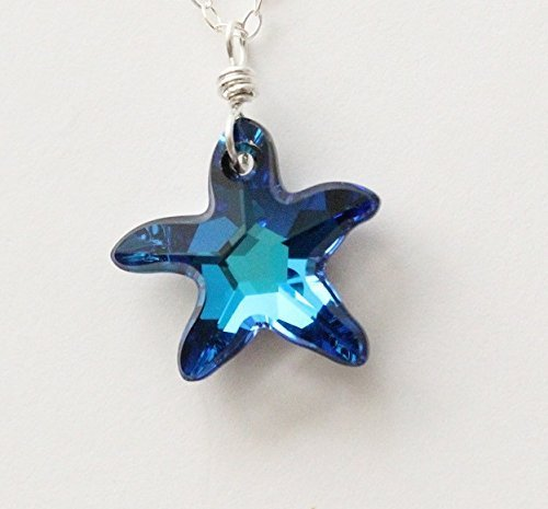 Amazon swarovski starfish necklace bermuda blue austrian swarovski starfish necklace bermuda blue austrian crystal pendant sterling silver jewelry everyday beach aloadofball Image collections