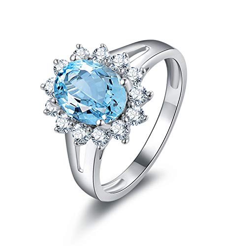 Aokarry - S925 Silver Sterling Simple Engagement Rings for Womens Blue Created-Topaz December Birthstone Size 6.5