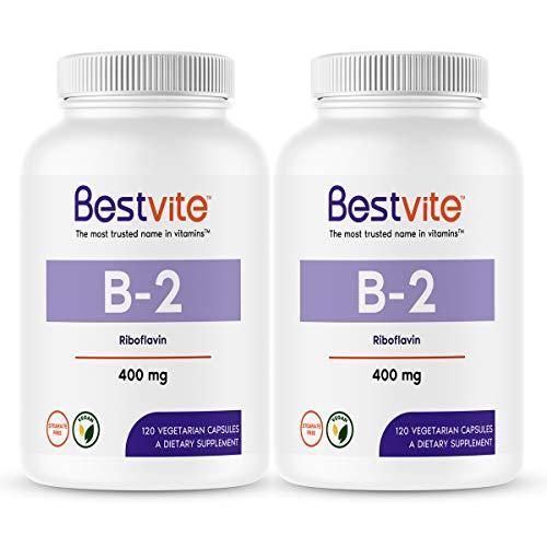 Vitamin B-2 (Riboflavin) 400mg (240 Vegetarian Capsules) (120 x 2) – No Stearates – Vegan – Non GMO – Gluten Free