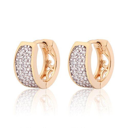 Three Rows of Shimmering Swarovski Pave Hoop Earrings with Filigree Back-Yellow Gold Fashion (Pave Filigree Ring)