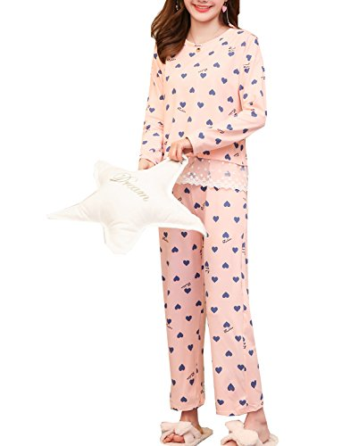 Big Girls' Sweet Heart Lace Trim Soft Sleepwear Pajamas Set(8y-18y) by Leisure Home
