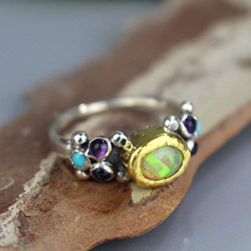 Handcrafted Genuine Opal Gemstone Bezel Set in 22K Gold Sterling Silver Bohemian Engagement Ring ()