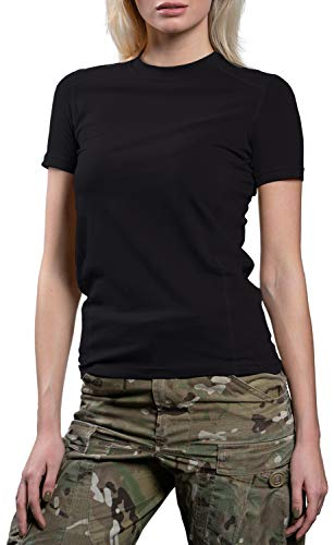 281Z Womens Tactical Stretch Cotton Underwear T-Shirt - Hiking Outdoor Workout - Punisher Combat Line (Black, Large)