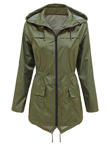 Mid Coats Hood Jacket XINHEO Women's Waterproof Green Long Windproof Zipper 1qnZpnOw