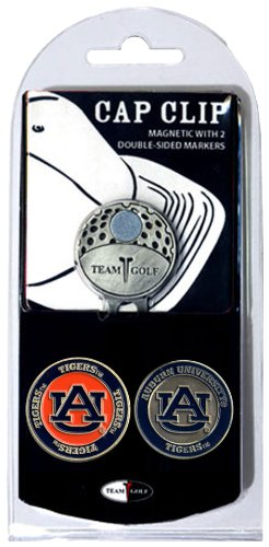 Team Golf NCAA Auburn University Tigers Golf Cap Clip with 2 Removable Double-Sided Enamel Magnetic Ball Markers, Attaches Easily to Hats