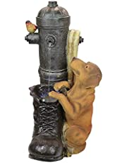 Water Fountain with LED Light - Fire Hydrant Pooch Garden Decor Dog Fountain - Outdoor Water Feature