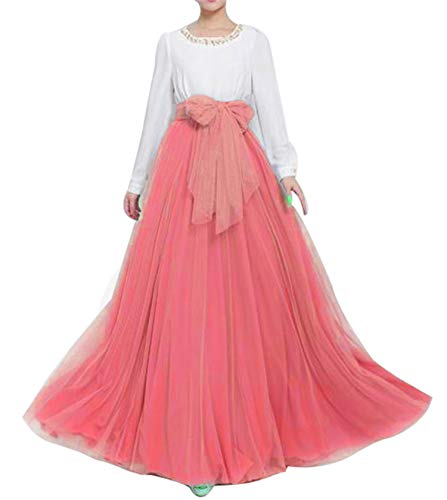 Women Wedding Long Maxi Puffy Tulle Skirt Floor Length A Line with Bowknot Belt High Waisted for Wedding Party Evening (Coral, Plus Size,US -